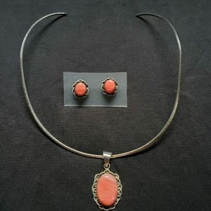 Artesanal silver necklace with earrings excellent